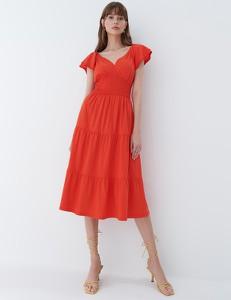Czerwona sukienka Mohito z bawełny z krótkim rękawem midi