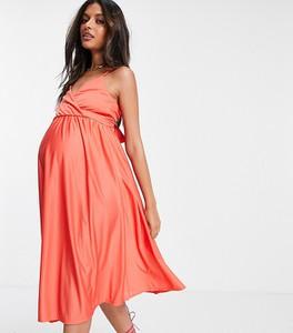 ASOS DESIGN Maternity – Koralowa sukienka midi na ramiączkach, z głębokim dekoltem i wiązaniem na plecach-Pomarańczowy