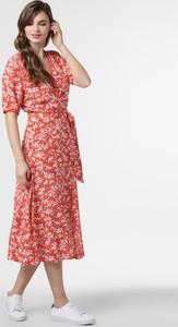 Czerwona sukienka Tommy Hilfiger w stylu casual rozkloszowana z dekoltem w kształcie litery v