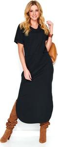 Czarna sukienka Makadamia z krótkim rękawem z dresówki