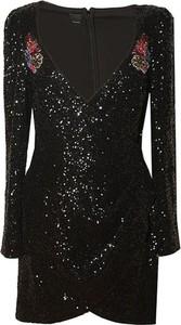 Czarna sukienka Pinko z dekoltem w kształcie litery v z długim rękawem