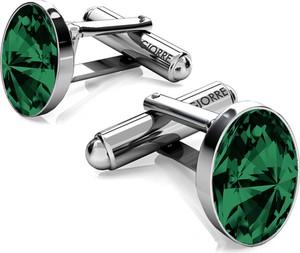 GIORRE Srebrne spinki do mankietu z owalnym kryształem swarovskiego 925 : Kolor kryształu SWAROVSKI - Emerald, Kolor pokrycia srebra - Pokrycie Czarnym Rodem