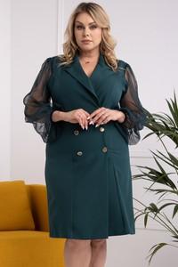 Sukienka KARKO dla puszystych z długim rękawem mini