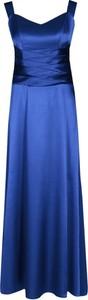 Niebieska sukienka Fokus na ramiączkach z dekoltem w kształcie litery v maxi