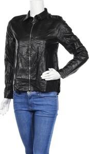 Czarna kurtka ZARA krótka w stylu casual ze skóry
