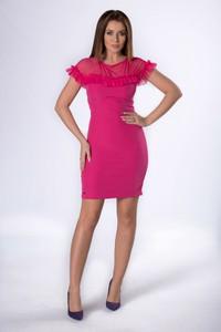 Różowa sukienka Moda Dla Ciebie mini z okrągłym dekoltem z tiulu