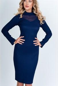 Granatowa sukienka Royalfashion.pl midi z długim rękawem