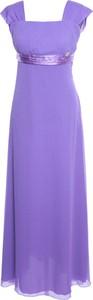 Sukienka Fokus z dekoltem w karo maxi w stylu glamour