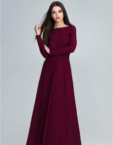 Czerwona sukienka Figl z długim rękawem maxi