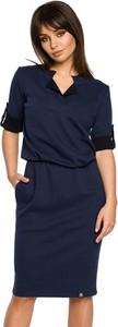 Sukienka BeWear midi z dekoltem w kształcie litery v z krótkim rękawem