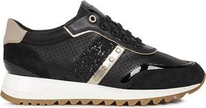Buty sportowe Geox sznurowane z zamszu na platformie