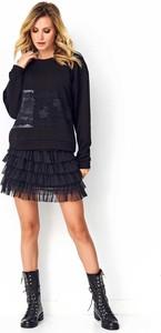 Czarna bluza Makadamia w młodzieżowym stylu z bawełny