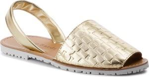Złote sandały Sergio Bardi ze skóry z płaską podeszwą