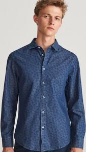 Niebieska koszula Reserved z długim rękawem z jeansu