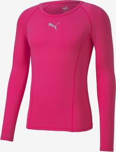 Różowa koszulka z długim rękawem Puma w sportowym stylu z długim rękawem