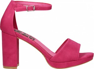 Różowe sandały Refresh ze skóry ekologicznej na słupku na wysokim obcasie