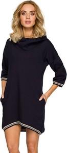 Granatowa sukienka Made Of Emotion z długim rękawem mini w stylu casual