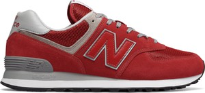 Czerwone buty sportowe New Balance sznurowane z zamszu