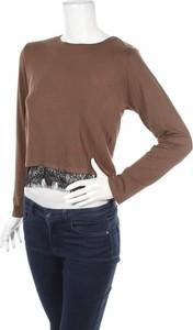 Brązowa bluzka Shana z okrągłym dekoltem z długim rękawem