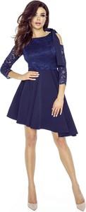Niebieska sukienka Bergamo z długim rękawem asymetryczna
