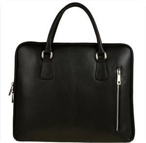 Czarna torebka GENUINE LEATHER do ręki w stylu glamour ze skóry