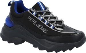 Czarne buty sportowe Pepe Jeans w sportowym stylu sznurowane