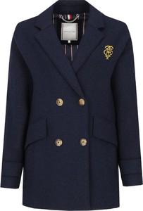 Niebieski płaszcz Tommy Hilfiger z wełny