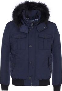 Niebieska kurtka Ochnik krótka w stylu casual z tkaniny