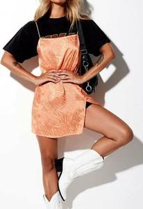 Pomarańczowa sukienka Sandbella w stylu casual mini z okrągłym dekoltem