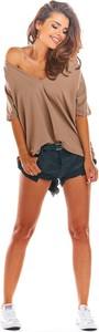 Brązowa bluzka Infinite You w stylu casual z bawełny z krótkim rękawem