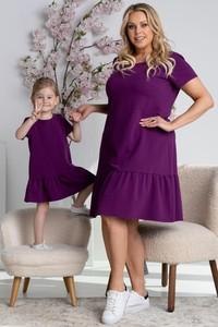Fioletowa sukienka KARKO z okrągłym dekoltem dla puszystych mini