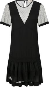 Czarna sukienka Twinset z krótkim rękawem mini z okrągłym dekoltem