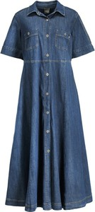 Granatowa sukienka Persona by Marina Rinaldi w stylu casual z krótkim rękawem koszulowa