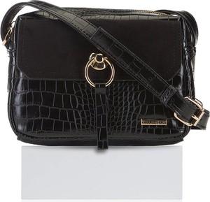 Czarna torebka Wittchen na ramię z tłoczeniem z zamszu