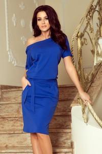 Niebieska sukienka NUMOCO midi z krótkim rękawem