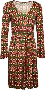 Brązowa sukienka Maliparmi mini z dekoltem w kształcie litery v