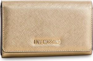 Złoty portfel Love Moschino ze skóry