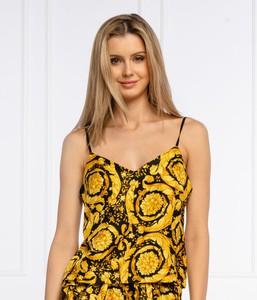 Żółty top Versace z nadrukiem w młodzieżowym stylu