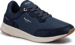 Niebieskie buty sportowe Pepe Jeans sznurowane