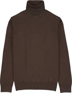 Brązowy sweter Borgio z golfem w stylu casual