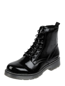 Czarne botki Tom Tailor z płaską podeszwą w stylu casual