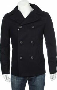 Granatowy płaszcz męski Pull&Bear