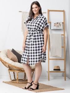 Sukienka KARKO z krótkim rękawem szmizjerka