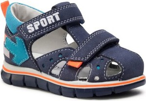 Granatowe buty dziecięce letnie Twisty ze skóry na rzepy