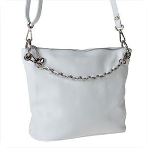 Genuine leather torebka skórzana biała z łańcuszkiem m