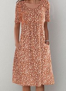 Brązowa sukienka Cikelly midi z krótkim rękawem z okrągłym dekoltem