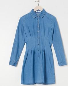 Niebieska sukienka Sinsay z kołnierzykiem w stylu casual koszulowa