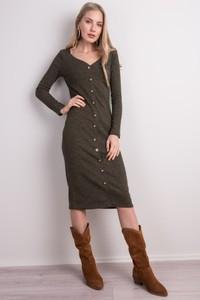 Zielona sukienka Sheandher.pl z dekoltem w kształcie litery v w stylu casual midi