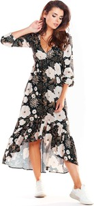 Sukienka Awama maxi z długim rękawem asymetryczna
