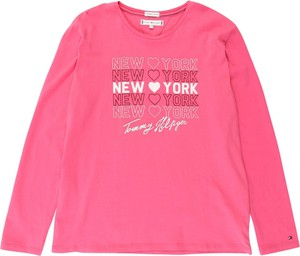 Różowa bluzka dziecięca Tommy Hilfiger z tkaniny